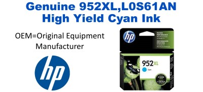 952XL,L0S61AN Genuine High Yield Cyan HP Ink