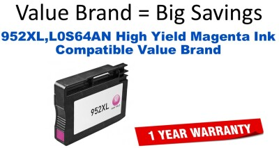 952XL,L0S64AN High Yield Magenta Compatible Value Brand ink