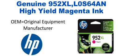 952XL,L0S64AN Genuine High Yield Magenta HP Ink