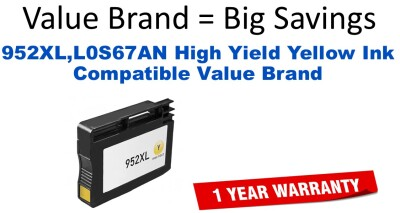 952XL,L0S67AN High Yield Yellow Compatible Value Brand ink