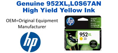 952XL,L0S67AN Genuine High Yield Yellow HP Ink