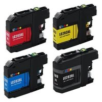 Brother LC203 - 4 Color Ink Cartridge Set, Remanufactured BCMY Combo