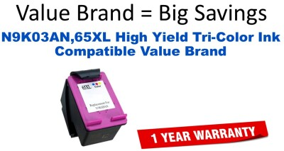 N9K03AN,65XL High Yield Tri-Color Compatible Value Brand ink