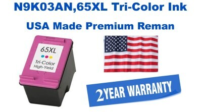 N9K03AN,65XL High Yield Tri-Color Premium USA Made Remanufactured HP toner