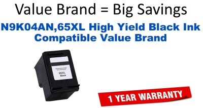 N9K04AN,65XL High Yield Black Compatible Value Brand ink