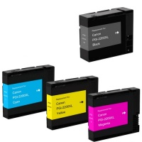 Canon PGI-2200 - Remanufactured 4 Color Ink Catridge Set (Black, Cyan, Magenta, Yellow)