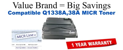 Q1338A,38A MICR Compatible Value Brand toner