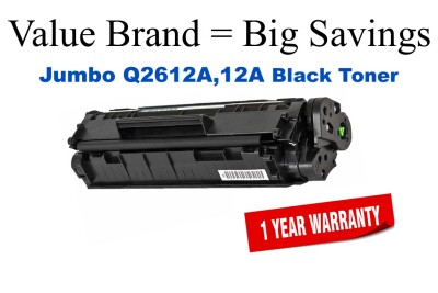 Q2612A,12A Jumbo Black Compatible Value Brand HP Jumbo Toner 50% Higher Yield
