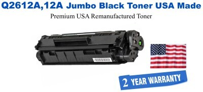 Q2612A,12A Jumbo Premium USA Made Remanufactured HP Toner 50% Higher Yield