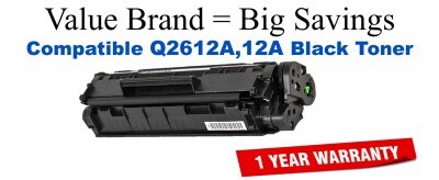 Q2612A,12A Black Compatible Value Brand toner