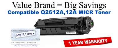 Q2612A,12A MICR Compatible Value Brand toner