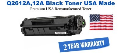 Q2612A,12A Black Premium USA Made Remanufactured HP toner