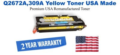 Q2672A,309A Yellow Premium USA Made Remanufactured HP toner