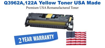 Q3962A,122A Yellow Premium USA Made Remanufactured HP toner