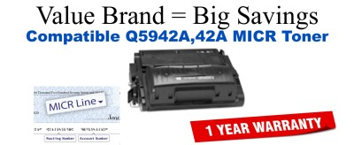 Q5942A,42A MICR Compatible Value Brand toner