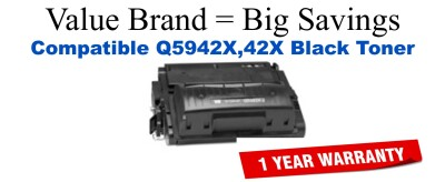 Q5942X,42X High Yield Black Compatible Value Brand toner