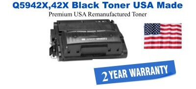 Q5942X,42X High Yield Black Premium USA Made Remanufactured HP toner