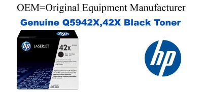New Original HP 42X Black Toner Cartridge (Q5942X)