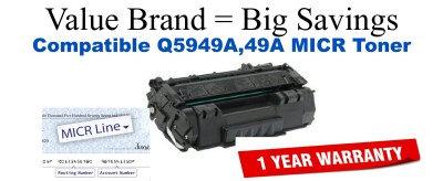 Q5949A,49A MICR Compatible Value Brand toner