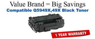 Q5949X,49X High Yield Black Compatible Value Brand toner