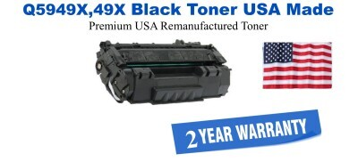 Q5949X,49X High Yield Black Premium USA Made Remanufactured HP toner
