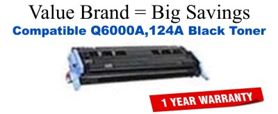 Q6000A,124A Black Compatible Value Brand toner