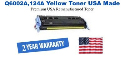 Q6002A,124A Yellow Premium USA Made Remanufactured HP toner