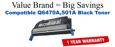 Q6470A,501A Black Compatible Value Brand toner