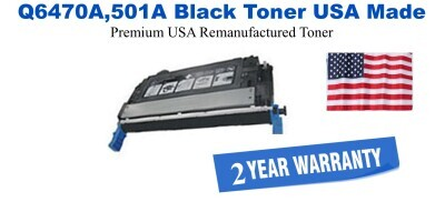Q6470A,501A Black Premium USA Made Remanufactured HP toner