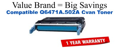 Q6471A,502A Cyan Compatible Value Brand toner