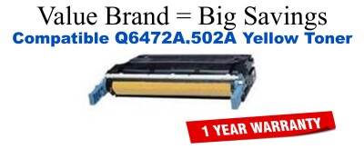 Q6472A,502A Yellow Compatible Value Brand toner