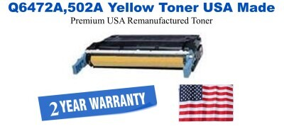 Q6472A,502A Yellow Premium USA Made Remanufactured HP toner