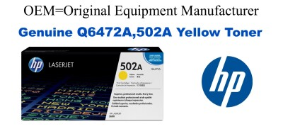 Q6472A,502A Genuine Yellow HP Toner