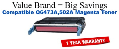 Q6473A,502A Magenta Compatible Value Brand toner