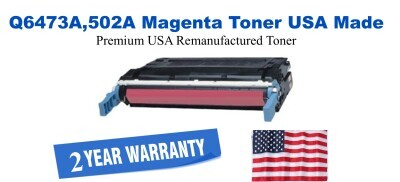 Q6473A,502A Magenta Premium USA Made Remanufactured HP toner
