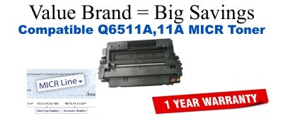 HP 11A Black Remanufactured MICR Toner Cartridge (Q6511A)