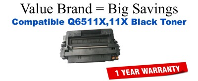 Q6511X,11X High Yield Black Compatible Value Brand toner