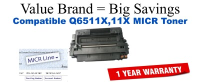 HP 11X Black Remanufactured MICR Toner Cartridge (Q6511X)