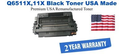 Q6511X,11X High Yield Black Premium USA Made Remanufactured HP toner