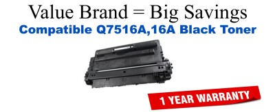 Q7516A,16A Black Compatible Value Brand toner