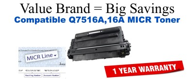 Q7516A,16A MICR Compatible Value Brand toner
