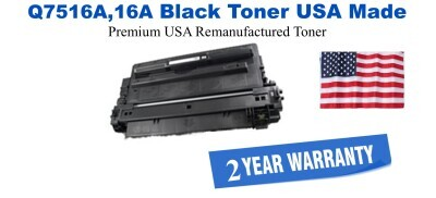 Q7516A,16A Black Premium USA Made Remanufactured HP toner