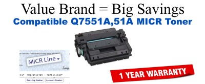 Q7551A,51A MICR Compatible Value Brand toner