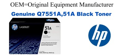 New Original HP 51A Black Toner Cartridge (Q7551A)