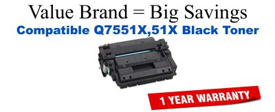 Q7551X,51X High Yield Black Compatible Value Brand toner