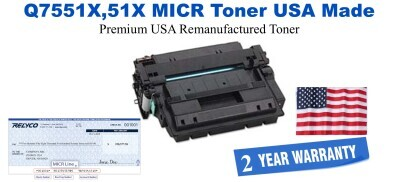Q7551X,51X MICR USA Made Remanufactured toner
