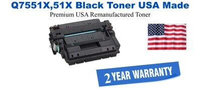 Q7551X,51X High Yield Black Premium USA Made Remanufactured HP toner