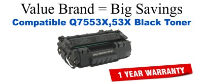 Q7553X,53X High Yield Black Compatible Value Brand toner