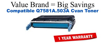 Q7581A,503A Cyan Compatible Value Brand toner