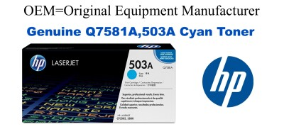 New Original HP 503A Cyan Toner Cartridge (Q7581A)